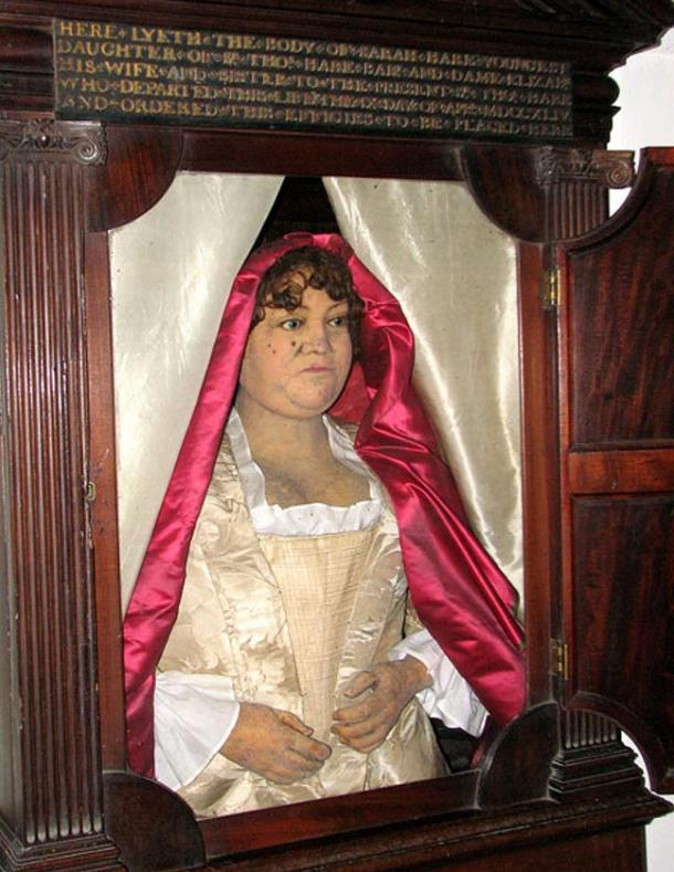 A very rare wax funerary effigy of a private person (Sarah Hare) who stipulated it be made in her will, England, 1744
