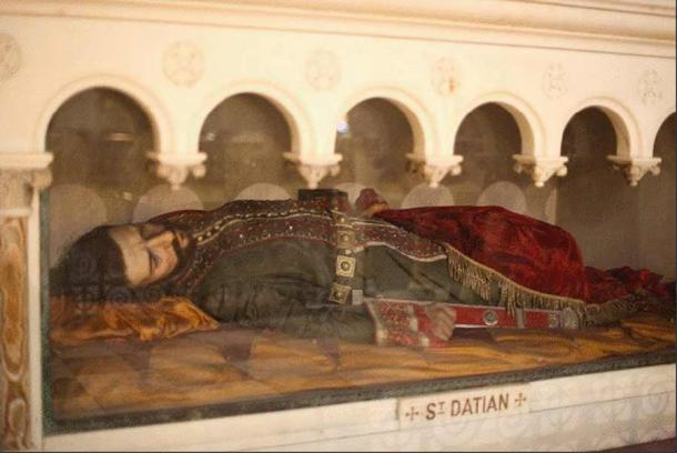 Wax effigy of St. Datian at the Church of the Most Holy Redeemer in New York.
