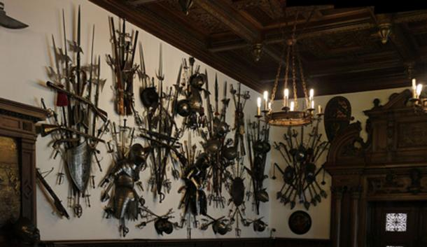 Weapon collection in Peleș castle, Romania.