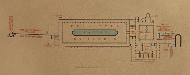Weber's map of Villa of the Papyri Herculaneum.