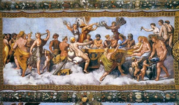 Banchetto nuziale - The Wedding Banquet ofCupid and Psyche, fresco (1517) by Raphael