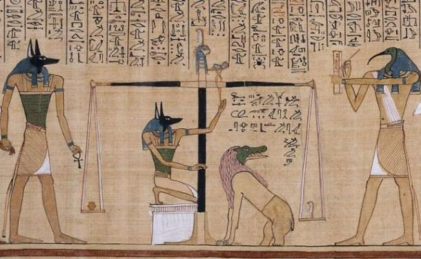 The 'Weighing of the Heart' ritual, shown in the Book of the Dead