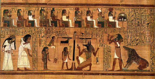 The Weighing of the Heart from the Book of the Dead of Ani. At left, Ani and his wife Tutu enter the assemblage of gods. At center, Anubis weighs Ani's heart against the feather of Maat. At right, the monster Ammut, who will devour Ani's soul if he is unworthy, awaits the verdict, while the god Thoth prepares to record it. On top, gods are acting as judges.
