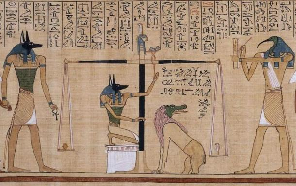 The Weighing of the Heart ritual, from The Book of the Dead of Hunefer (~1275 BC), from the British Museum. The last thing the deceased wanted was a hard or heavy heart, for that could deny him eternal life. (Public Domain)