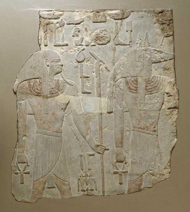 Gebelein is a complex of archaeological sites known for many years. This relief from Gebeline showing the jackal-headed-god Wepwawet and the earth-deity Geb was acquired by Henry Walters in 1925.