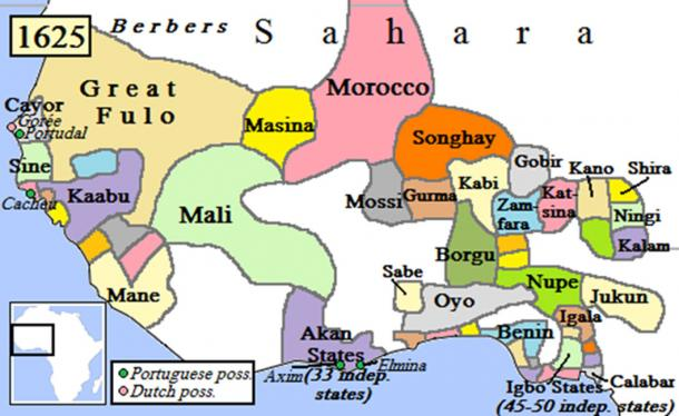 West Africa after the Moroccan invasion of the Songhai Empire. (Omar-Toons / CC BY-SA 3.0)