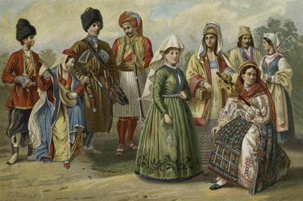 West Aryan types of eastern and northern Europe. On the picture: Georgians, Ossette, Albanian, Woman of Iceland, Russian woman of Rjasan, Roumanian woman, Poles of Radom.