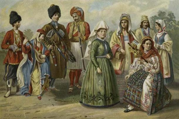 West Aryan types of eastern and northern Europe. In the image: Georgians, Ossette, Albanian, Woman of Iceland, Russian woman of Rjasan, Roumanian woman, Poles of Radom. (Public Domain)