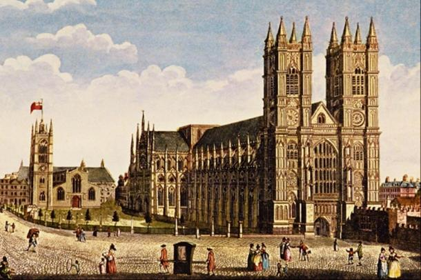 A painting of Westminster Abbey by Thomas H. Shepherd (1792-1864).