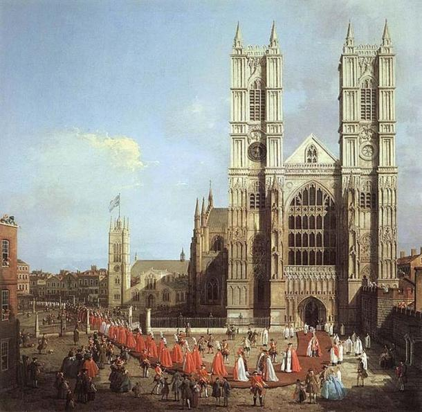 Westminster Abbey with a procession of Knights of the Bath, by Canaletto, 1749. (Public Domain)