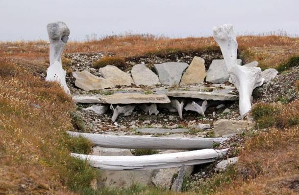 Whalebone used in the building of an ancient Thule home. Resolute, Nunavut, Canada.