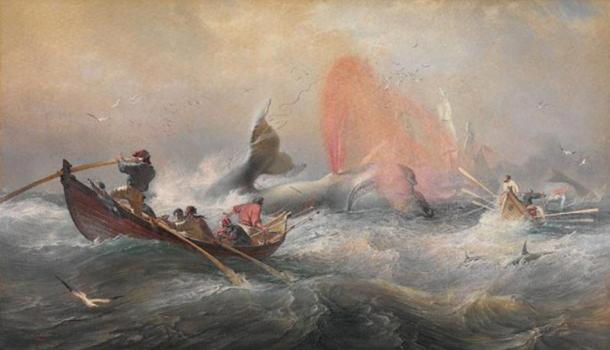 Whalers off Twofold Bay, New South Wales. Watercolor by Oswald Brierly, 1867.