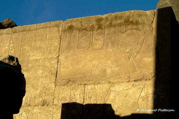When he came to the throne, Pharaoh Horemheb lost no time in dismantling the Amarna religious apparatus; and with it, the memory of those who were involved in the promotion of Atenism. Here, the king is depicted in a wall relief on the back of the Second Pylon at Karnak Temple. Image of Tutankhamun, with cartouches usurped by Horemheb, on the inner face of the west gateway into the Colonnade Hall of Luxor Temple.