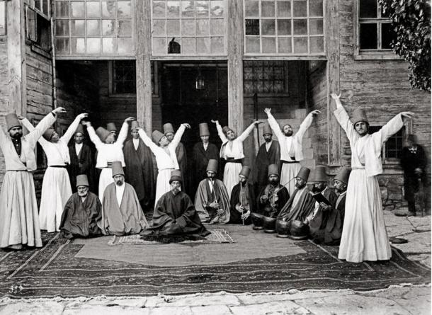 Whirling dervishes in Galata Mawlawi House (Ottoman Empire), 1870.