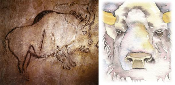Left, White Buffalo Petroglyph (CC BY, Author provided) Right, Courtesy of Gretchen Del Rio