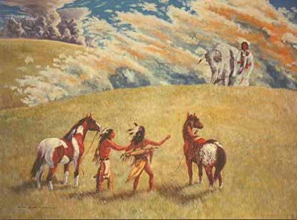 The White Buffalo Calf Woman meets two men.