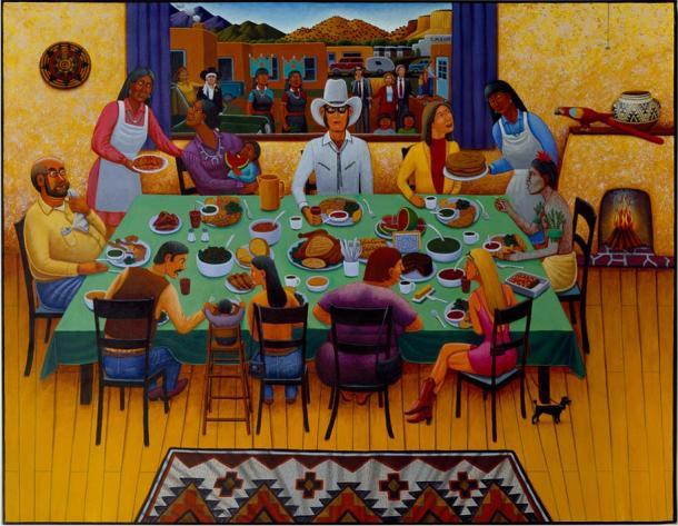 David Bradley's work White Earth Ojibwe Pueblo Feast Day, 1997.