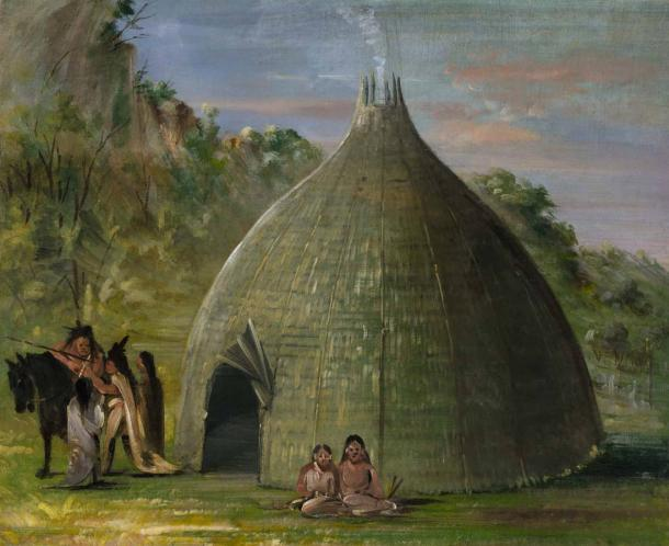 Wichita Lodge, Thatched with Prairie Grass (1834-1835) by George Catlin