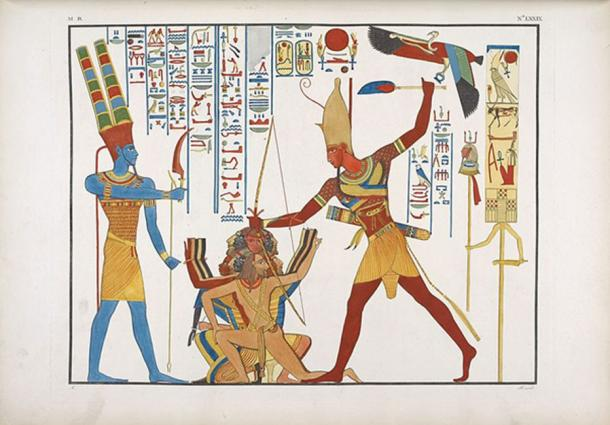 Wielding a khopesh to smite enemies in Egyptian art. (Public Domain)