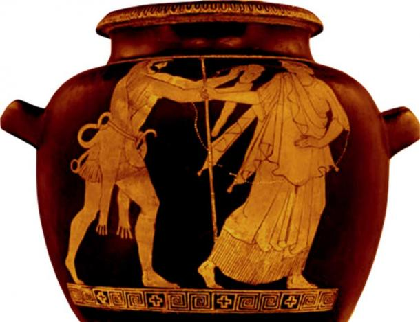 Wielding his club in a threatening manner, Nimrod/Herakles chases Noah/Nereus out of the way as if he were an outdated relic of the past who ought to be ignored. (Author provided)
