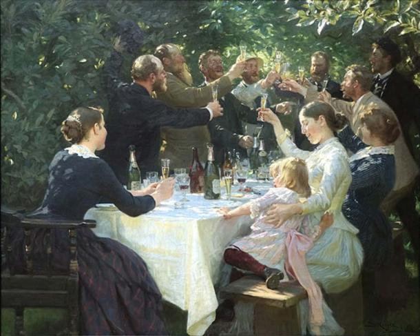 Will it still be fun in the morning? 'Hip, Hip, Hurrah!' (1888) by Peder Severin Krøyer, a painting portraying an artists' party in 19th century Denmark. (Public Domain)