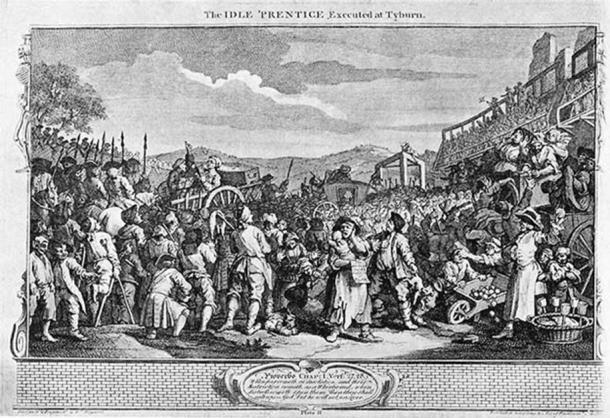 William Hogarth - Industry and Idleness, Plate 11; The Idle 'Prentice Executed at Tyburn (Public Domain)