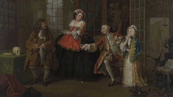 William Hogarth's The Inspection, the third canvas in his Marriage à-la-mode (The Visit to the Quack Doctor). (Public Domain)