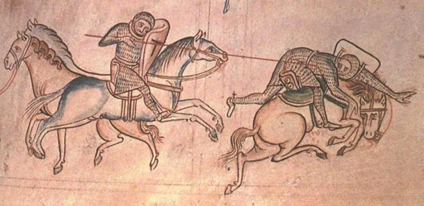 William Marshal unhorses Baldwin Guisnes at a joust. From the history of Major of Matthew Paris