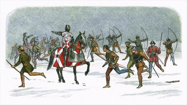 William Neville, Lord Fauconberg, orders his archers to take advantage of the wind and advance closer to shoot at their Lancastrian enemies in the Battle of Towton. (Public Domain)