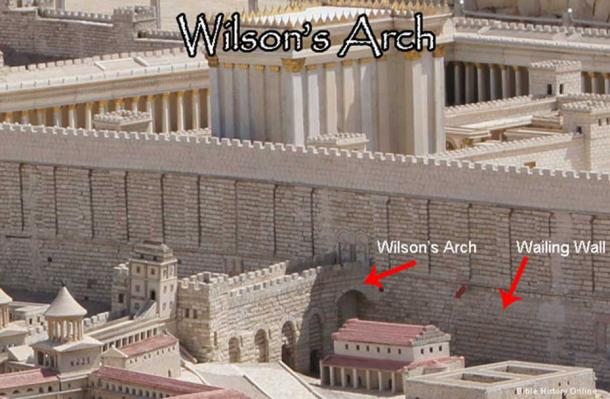 Wilson's Arch, gives entry to the Temple Mount on the western section of the plaza.