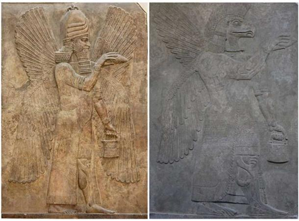 Left: A Winged genie with a pinecone and bucket performing a ritual before a Tree of Life panel. (Public Domain) Right: An eagle-headed figure in the Assyrian 'bucket and cone motif.' (Geni/CC BY SA 4.0)