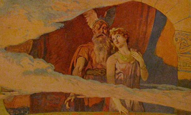 'Wodan and Frea stand out and look out of a window in the heavens.' (Public Domain)