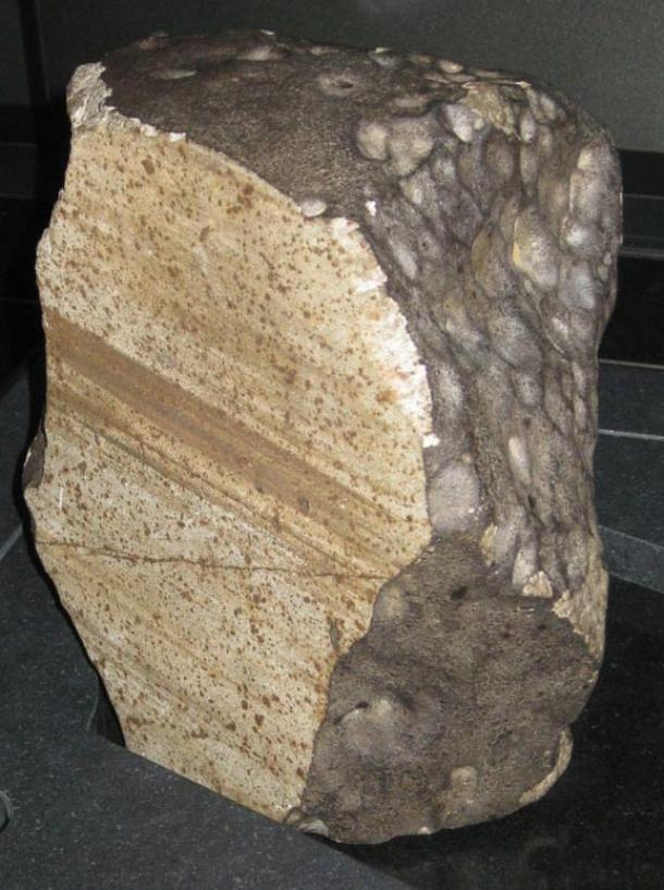 Wold Cottage meteorite. A chondrite which fell near Wold Cottage Farm, near Wold Newton in 1795. On display in the Natural History Museum, London.
