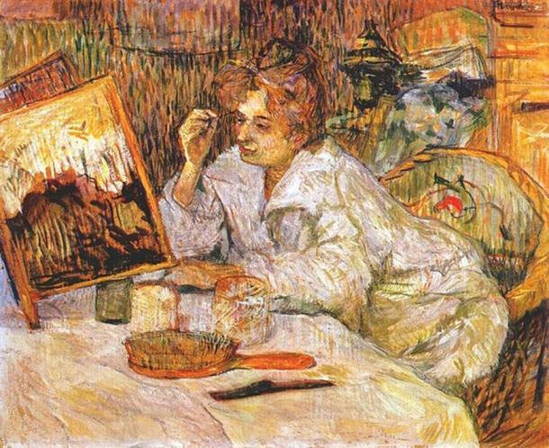 1889 painting Woman at her Toilette by Henri de Toulouse-Lautrec.