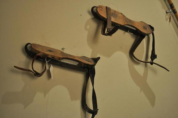 Wood and metal ice skates displayed at Edmonds Historical Museum, Edmonds, Washington, USA.