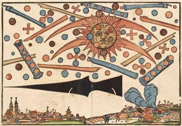Woodcut by Hans Glaser documenting what some people interpret as an aerial battle between UFOs. (Public Domain )