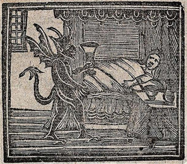 Woodcut depicting witchcraft: the devil bringing medicine to a man or woman in bed. (Wellcome Images/CC BY 4.0)