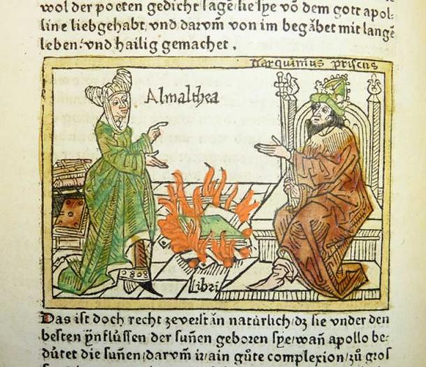 Woodcut illustration of Amalthea (the Cumaean sibyl), Tarquinius Superbus and the Sibylline books