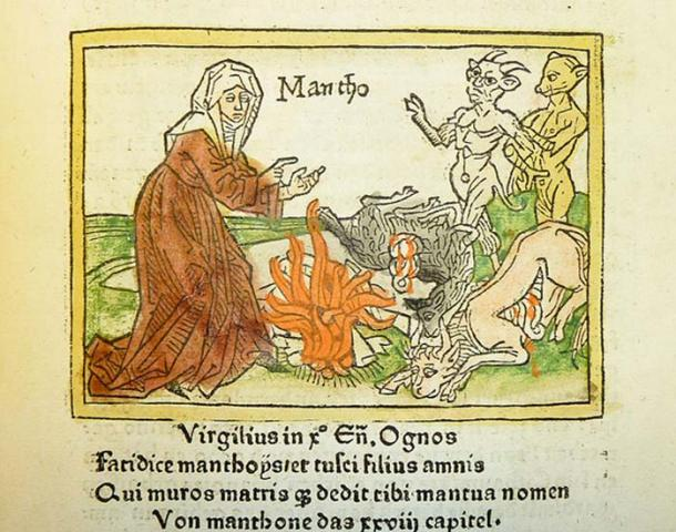 Woodcut illustration of Manto, daughter of Tiresias, by Heinrich Steinhöwel of Giovanni Boccaccio's De mulieribus claris, printed by Johannes Zainer at Ulm ca. 1474 (CC BY-SA, 2.0)