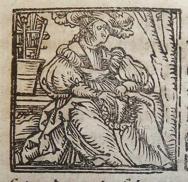 Woodcut illustration of the zodiac sign Virgo used by Alexander and Samuel Weissenhorn of Ingolstadt.