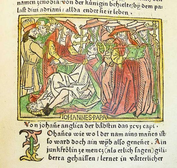Woodcut illustration of Pope Joan, dated 1473. (CC BY 2.0)