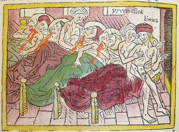 Woodcut of 49 of the Danaids killing their husbands, while one tells her partner to flee.