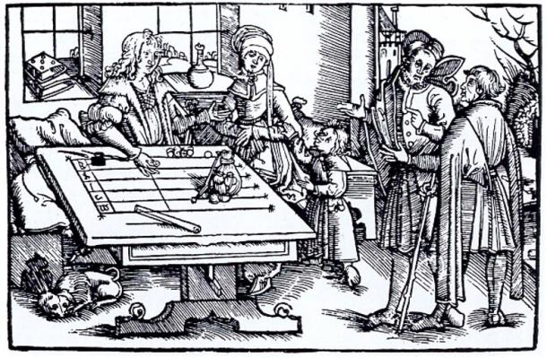 Woodcut of people at a calculation table (probably from Strasbourg), where jetons would have been used.