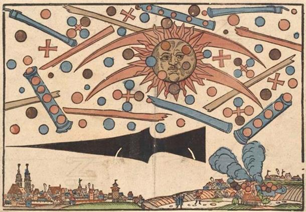 Woodcut by Hans Glaser documenting what might have been an aerial battle between UFOs.