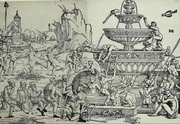 Woodcut: Hans Sebald Beham - Fountain of Youth and Bathhouse (1536)