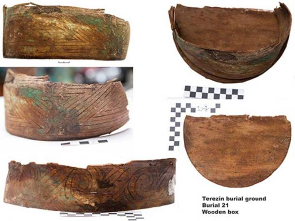 Wooden box-bag (with numerous leather pieces inside) found in the burial 21. Images: Institute for the History of Material Culture