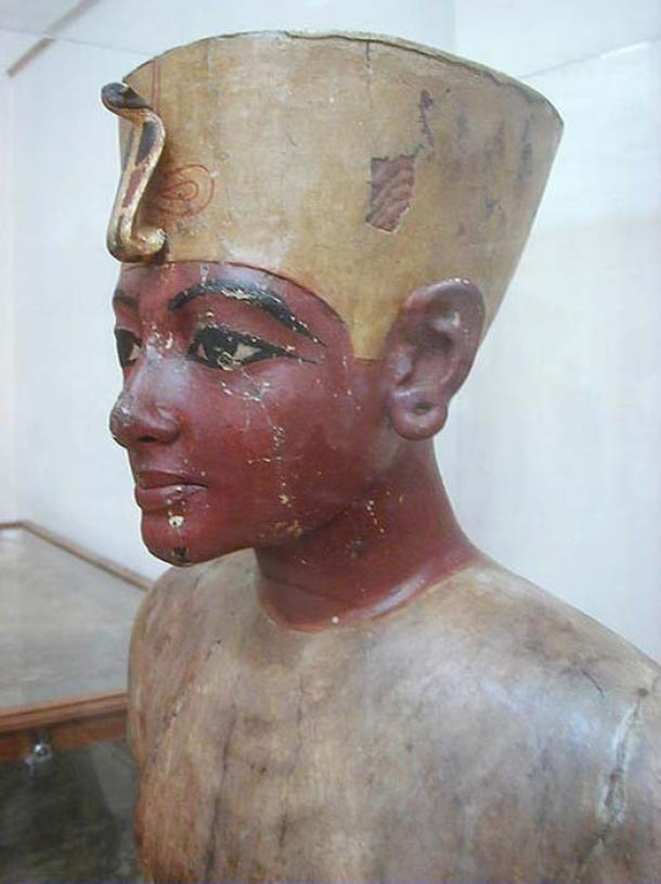 Wooden bust of the boy king, found in his tomb.