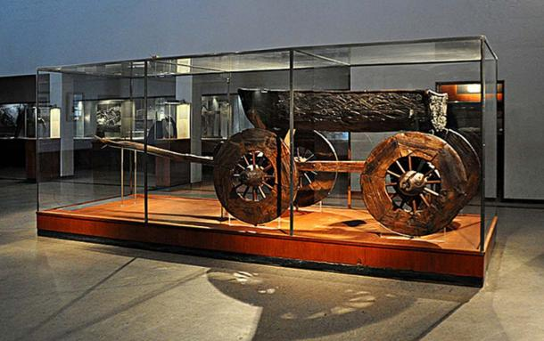 Wooden cart found at the Oseberg burial mound, Norway.