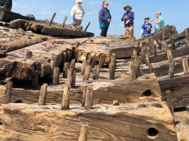 Wooden pegs secure the beams and the planks of the hull. (Image: ActionNewsJax.com)