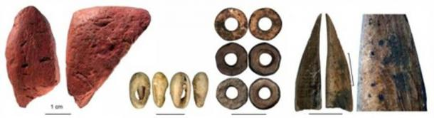 Worked red ochre; bead made of a sea shell; ostrich eggshell beads; bone tool; close-up of the bone tool showing traces of scraping. (from left to right). Credit: Francesco D'Errico and Africa Pitarch